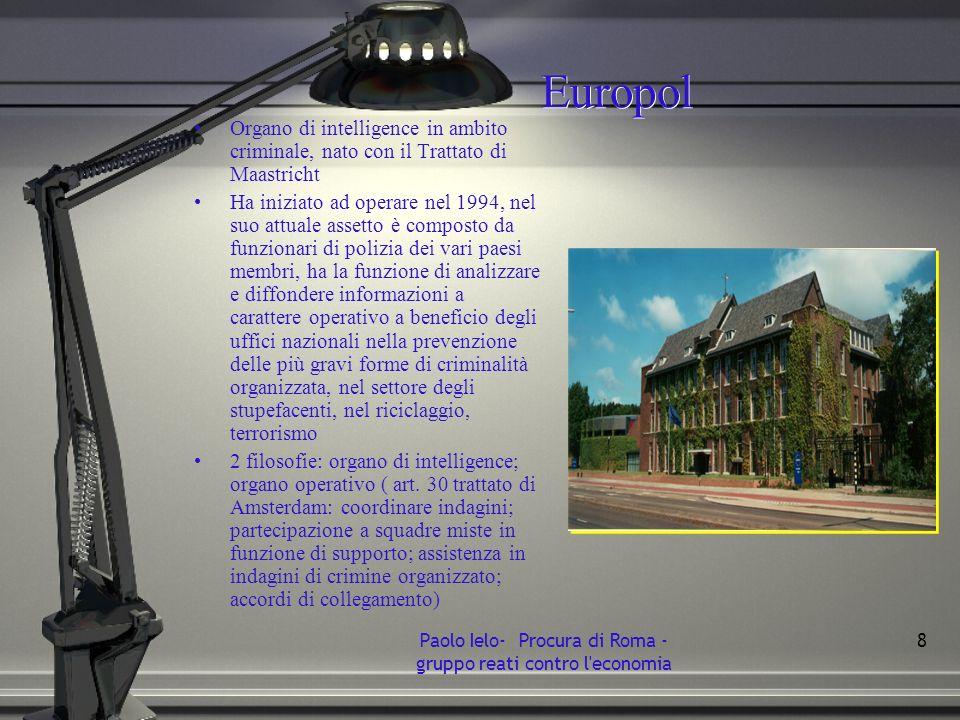 Europol Organo di intelligence in ambito criminale, nato con il Trattato di Maastricht Ha iniziato ad operare nel 1994, nel suo attuale assetto è comp