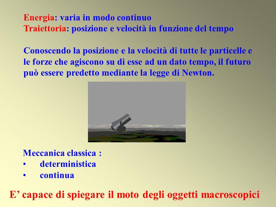 Energia: varia in modo continuo Traiettoria: posizione e velocità in funzione del tempo Conoscendo la posizione e la velocità di tutte le particelle e