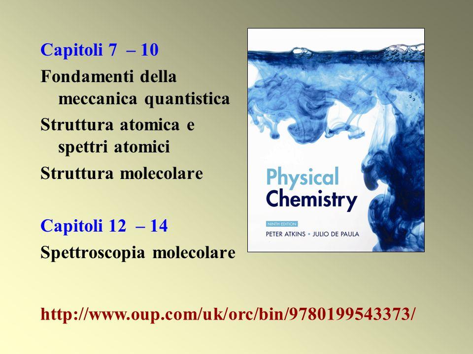 Capitoli 7 – 10 Fondamenti della meccanica quantistica Struttura atomica e spettri atomici Struttura molecolare Capitoli 12 – 14 Spettroscopia molecol