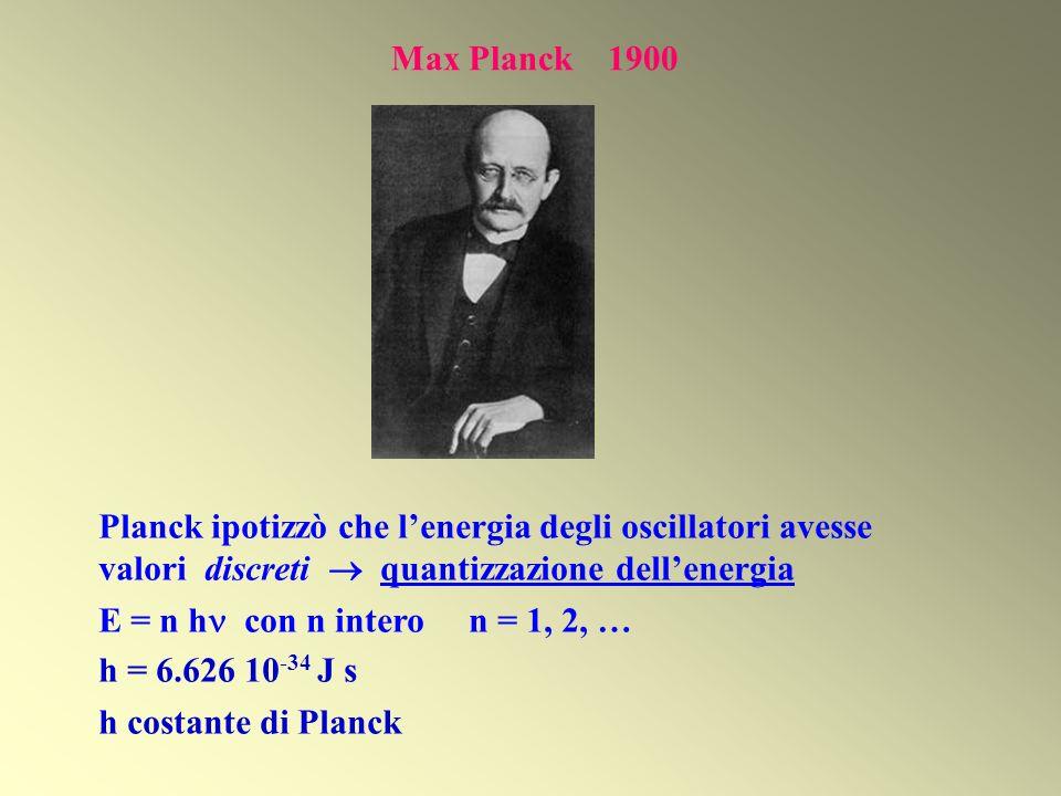 Max Planck 1900 Planck ipotizzò che lenergia degli oscillatori avesse valori discreti quantizzazione dellenergia E = n h con n intero n = 1, 2, … h =