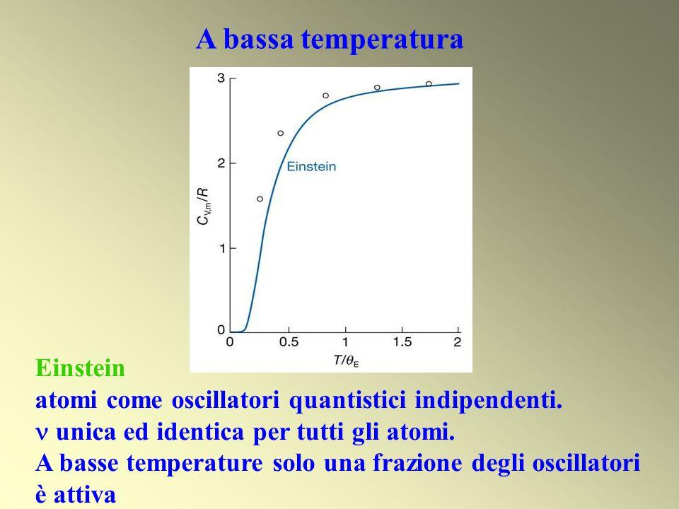 A bassa temperatura Einstein atomi come oscillatori quantistici indipendenti. unica ed identica per tutti gli atomi. A basse temperature solo una fraz