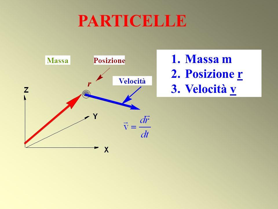 PARTICELLE r 2. Position r Massa Velocità 1.Massa m 2.Posizione r 3.Velocità v Posizione