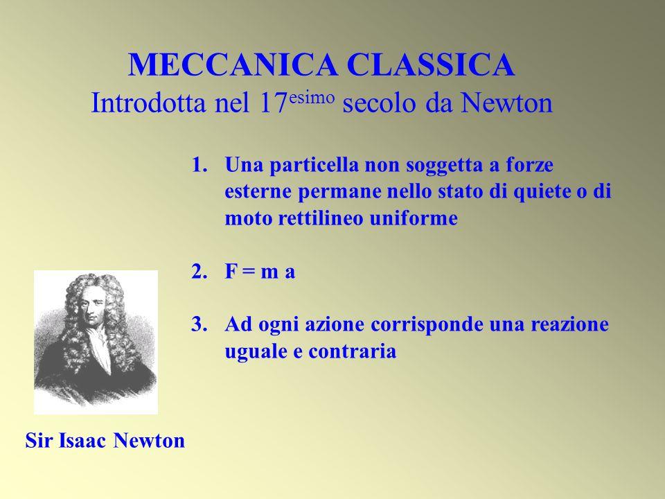 MECCANICA CLASSICA Introdotta nel 17 esimo secolo da Newton Sir Isaac Newton 1.Una particella non soggetta a forze esterne permane nello stato di quie