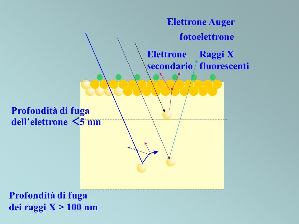 Profondità di fuga dei raggi X > 100 nm Profondità di fuga dellelettrone 5 nm Raggi X fluorescenti Elettrone secondario fotoelettrone Elettrone Auger