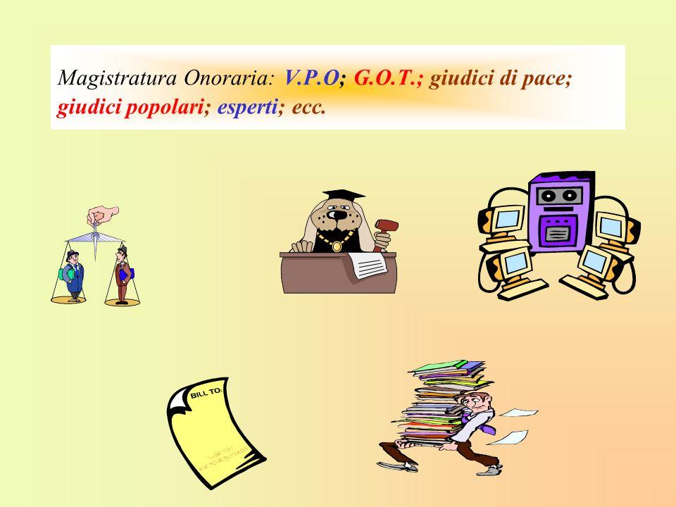 Magistratura Onoraria: V.P.O; G.O.T.; giudici di pace; giudici popolari; esperti; ecc.