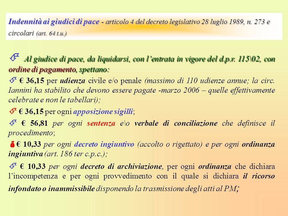 Indennità ai giudici di pace - articolo 4 del decreto legislativo 28 luglio 1989, n. 273 e circolari (art. 64 t.u.) Al giudice di pace, da liquidarsi,