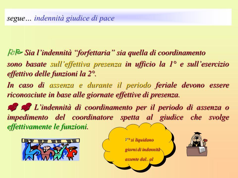 Sia lindennità forfettaria sia quella di coordinamento Sia lindennità forfettaria sia quella di coordinamento sono basate sulleffettiva presenza in uf