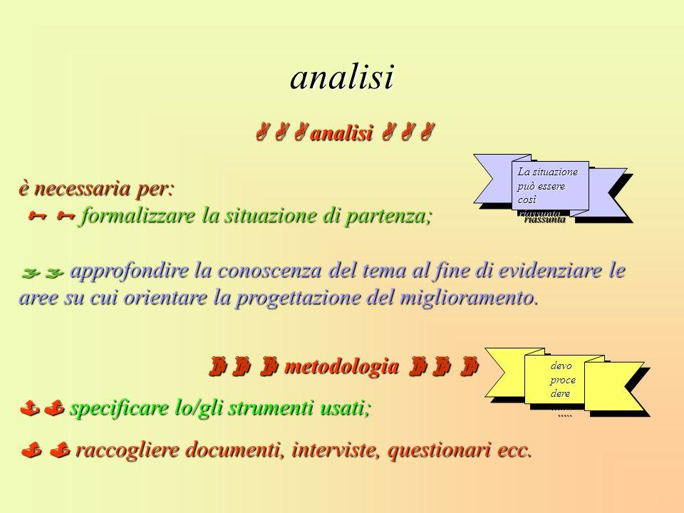 analisi analisi analisi è necessaria per: formalizzare la situazione di partenza; formalizzare la situazione di partenza; approfondire la conoscenza d