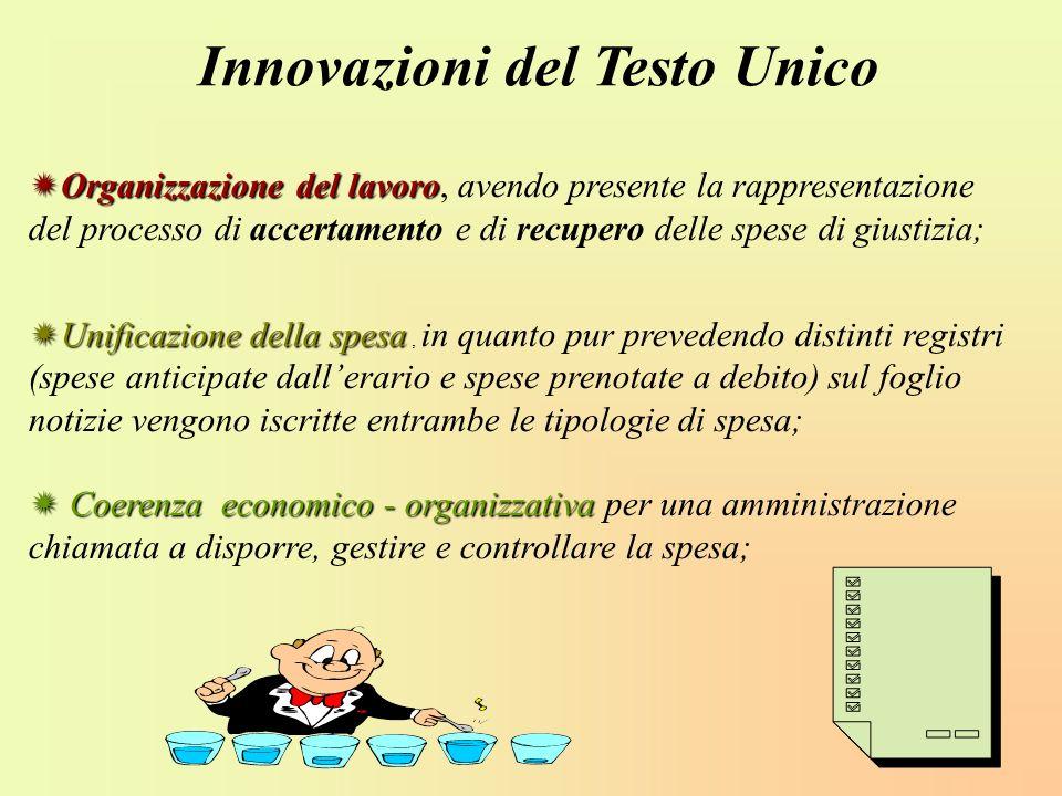 Organizzazione del lavoro Organizzazione del lavoro, avendo presente la rappresentazione del processo di accertamento e di recupero delle spese di giu