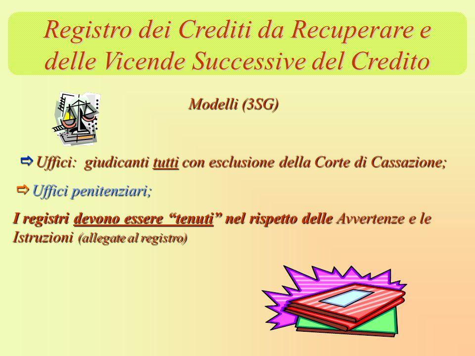 Registro dei Crediti da Recuperare e delle Vicende Successive del Credito Modelli (3SG) Uffici: giudicanti tutti con esclusione della Corte di Cassazi