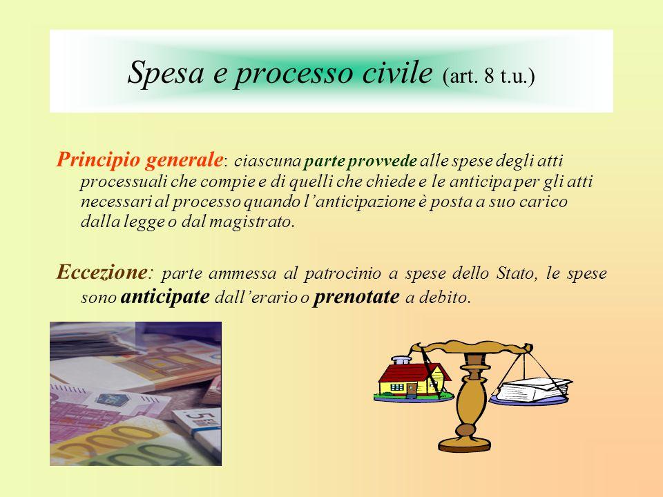 Spesa e processo civile (art. 8 t.u.) Principio generale : ciascuna parte provvede alle spese degli atti processuali che compie e di quelli che chiede