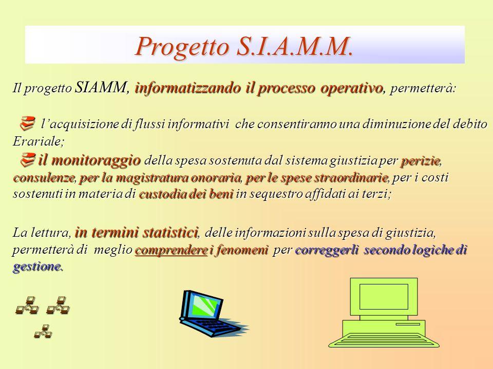 Il progetto SIAMM, informatizzando il processo operativo, permetterà: lacquisizione di flussi informativi che consentiranno una diminuzione del debito