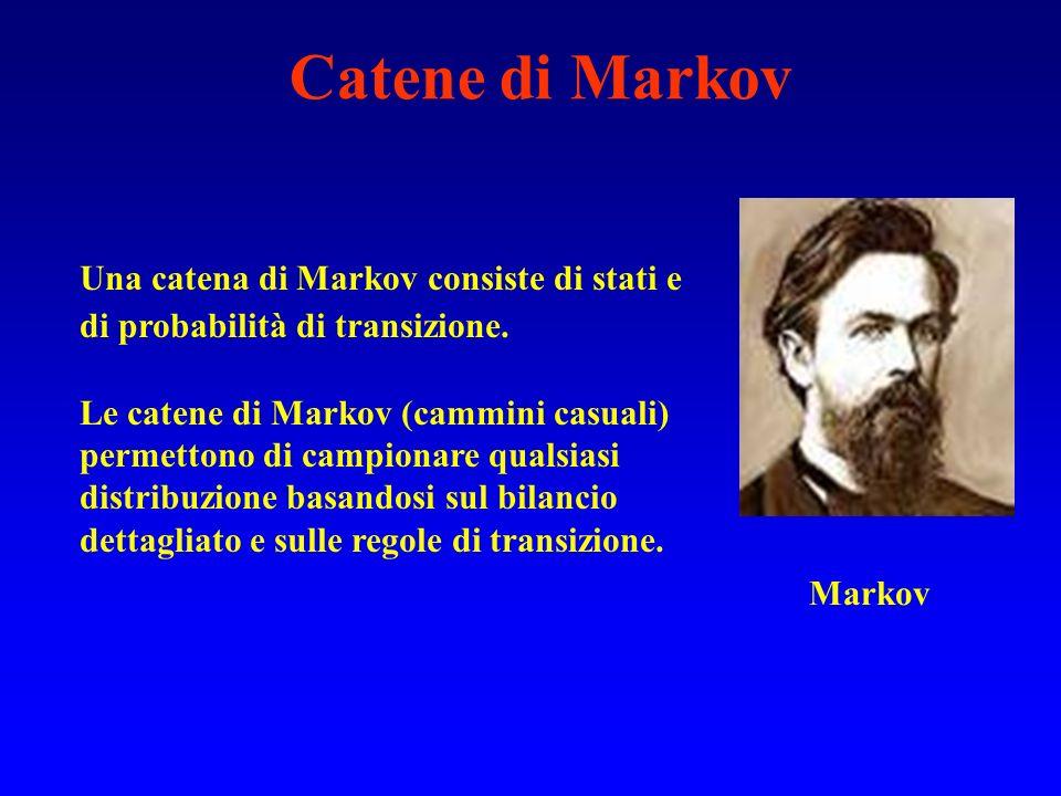 Markov Una catena di Markov consiste di stati e di probabilità di transizione. Le catene di Markov (cammini casuali) permettono di campionare qualsias