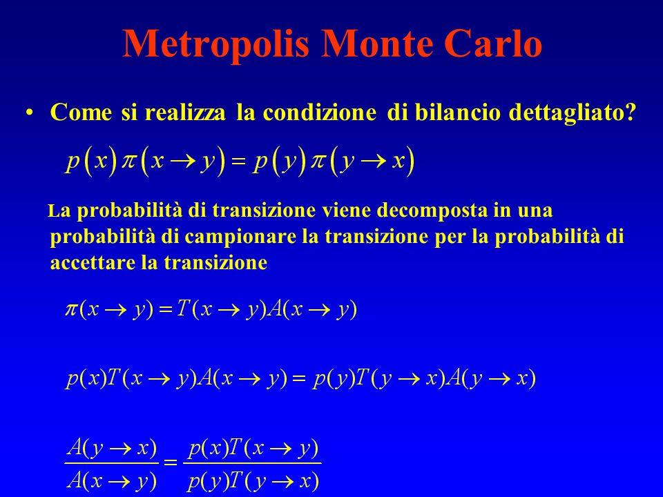 Metropolis Monte Carlo Come si realizza la condizione di bilancio dettagliato? L a probabilità di transizione viene decomposta in una probabilità di c