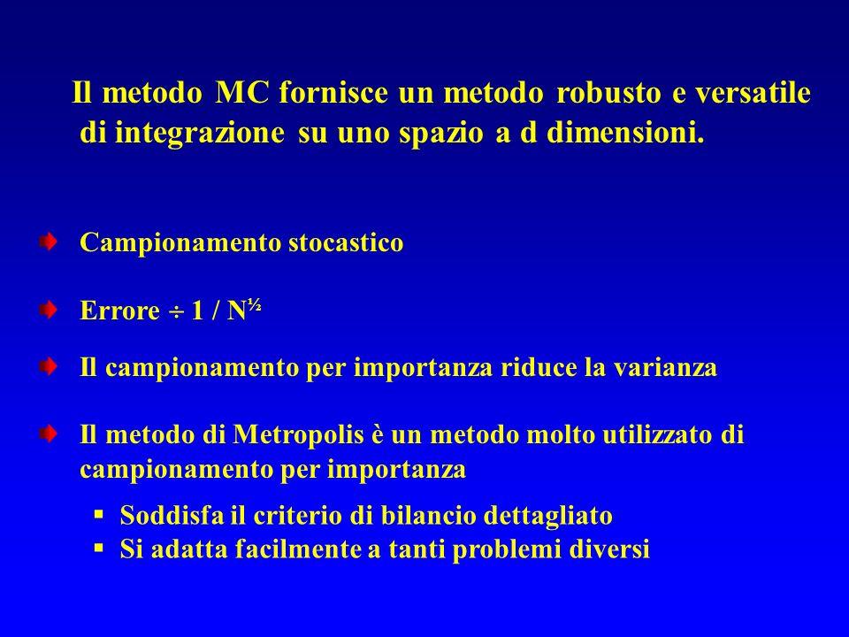 Il metodo MC fornisce un metodo robusto e versatile di integrazione su uno spazio a d dimensioni. Campionamento stocastico Errore 1 / N ½ Il campionam