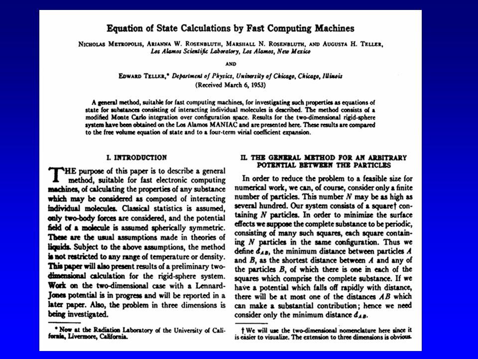 Nicholas Metropolis (1915-1999) Lalgoritmo di Metropolis (e A Rosenbluth, M Rosenbluth, A Teller e E Teller, 1953) è stato citato tra i primi 10 algoritmi che hanno avuto la più grande influenza sullo sviluppo e la pratica della scienza e dellingegneria nel ventesimo secolo.