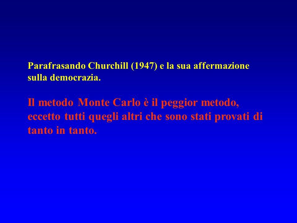 Parafrasando Churchill (1947) e la sua affermazione sulla democrazia. Il metodo Monte Carlo è il peggior metodo, eccetto tutti quegli altri che sono s