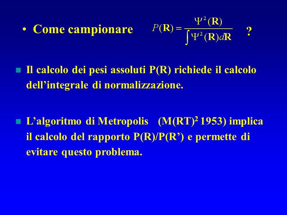 Come campionare Il calcolo dei pesi assoluti P(R) richiede il calcolo dellintegrale di normalizzazione. Lalgoritmo di Metropolis (M(RT) 2 1953) implic