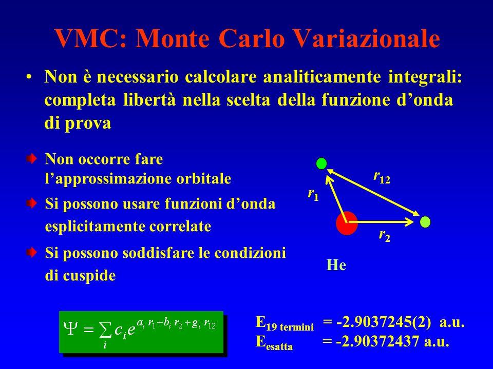 VMC: Monte Carlo Variazionale Non è necessario calcolare analiticamente integrali: completa libertà nella scelta della funzione donda di prova r1r1 r2