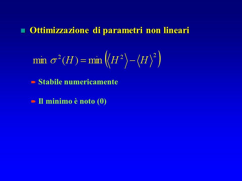Ottimizzazione di parametri non lineari Ottimizzazione di parametri non lineari Stabile numericamente Il minimo è noto (0)
