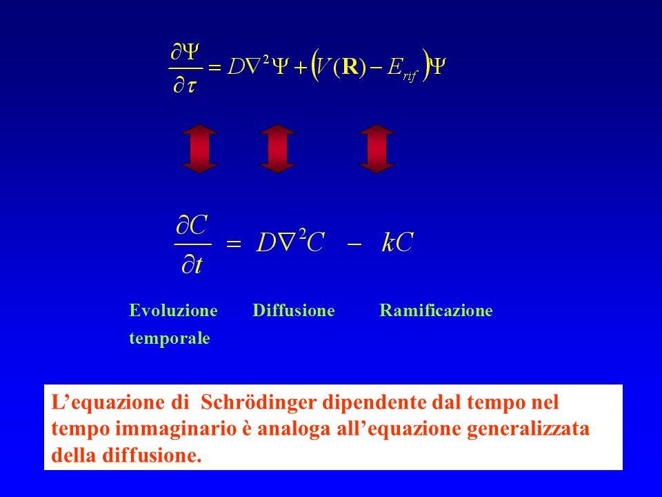 Lequazione di Schrödinger dipendente dal tempo nel tempo immaginario è analoga allequazione generalizzata della diffusione. Evoluzione Diffusione Rami