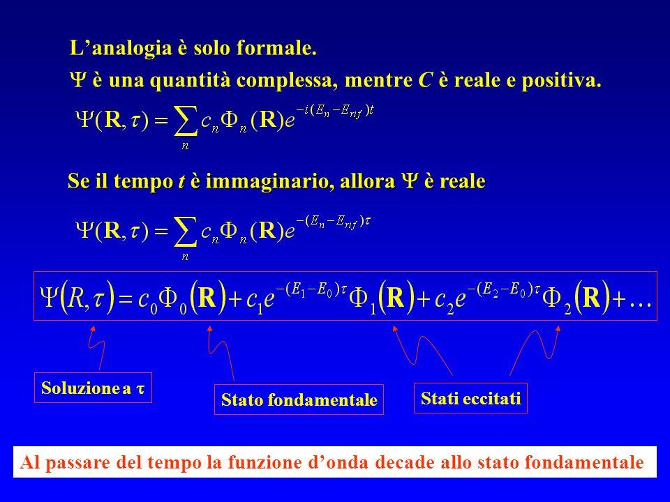 Lanalogia è solo formale. è una quantità complessa, mentre C è reale e positiva. Se il tempo t è immaginario, allora è reale Soluzione a Stato fondame