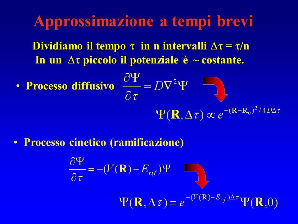 Approssimazione a tempi brevi Processo cinetico (ramificazione) Processo diffusivo Processo diffusivo Dividiamo il tempo in n intervalli = /n In un pi
