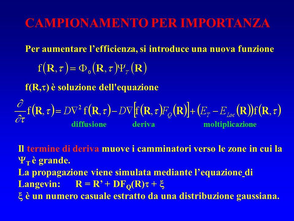 Per aumentare lefficienza, si introduce una nuova funzione f(R, ) è soluzione dell'equazione CAMPIONAMENTO PER IMPORTANZA Il termine di deriva muove i