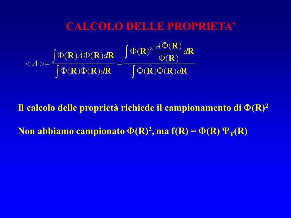 CALCOLO DELLE PROPRIETA Il calcolo delle proprietà richiede il campionamento di (R) 2 Non abbiamo campionato (R) 2, ma f(R) = (R) T (R)