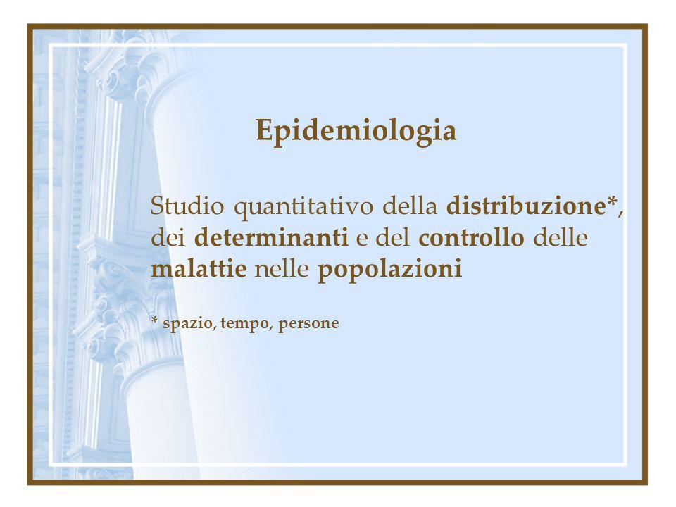 Misure di frequenza delle malattie esempi: Tasso di morbosità o morbilità annuale = Nuovi casi di IMA non fatali nel 2000 Popolazione italiana (metà anno) nel 2000 Tasso di mortalità annuale= N.