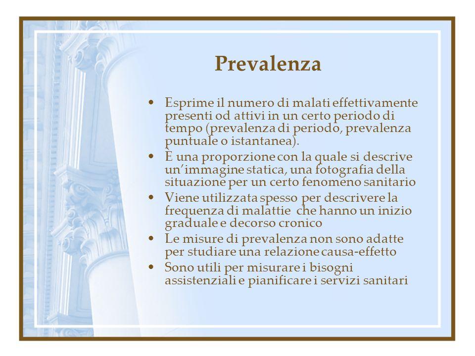 Prevalenza Esprime il numero di malati effettivamente presenti od attivi in un certo periodo di tempo (prevalenza di periodo, prevalenza puntuale o is