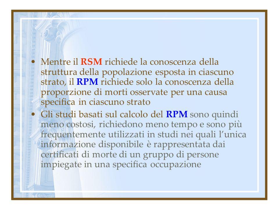 Mentre il RSM richiede la conoscenza della struttura della popolazione esposta in ciascuno strato, il RPM richiede solo la conoscenza della proporzion
