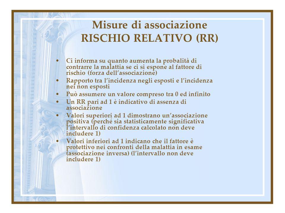 Misure di associazione RISCHIO RELATIVO (RR) Ci informa su quanto aumenta la probalità di contrarre la malattia se ci si espone al fattore di rischio