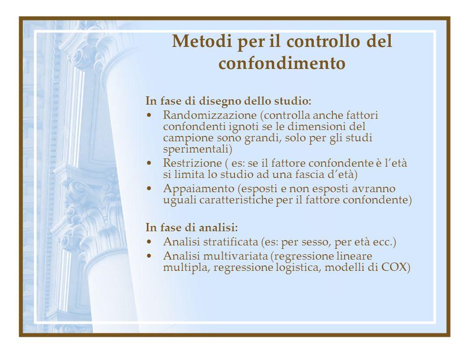 Metodi per il controllo del confondimento In fase di disegno dello studio: Randomizzazione (controlla anche fattori confondenti ignoti se le dimension