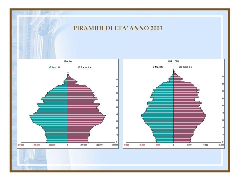 PIRAMIDI DI ETA' ANNO 2003