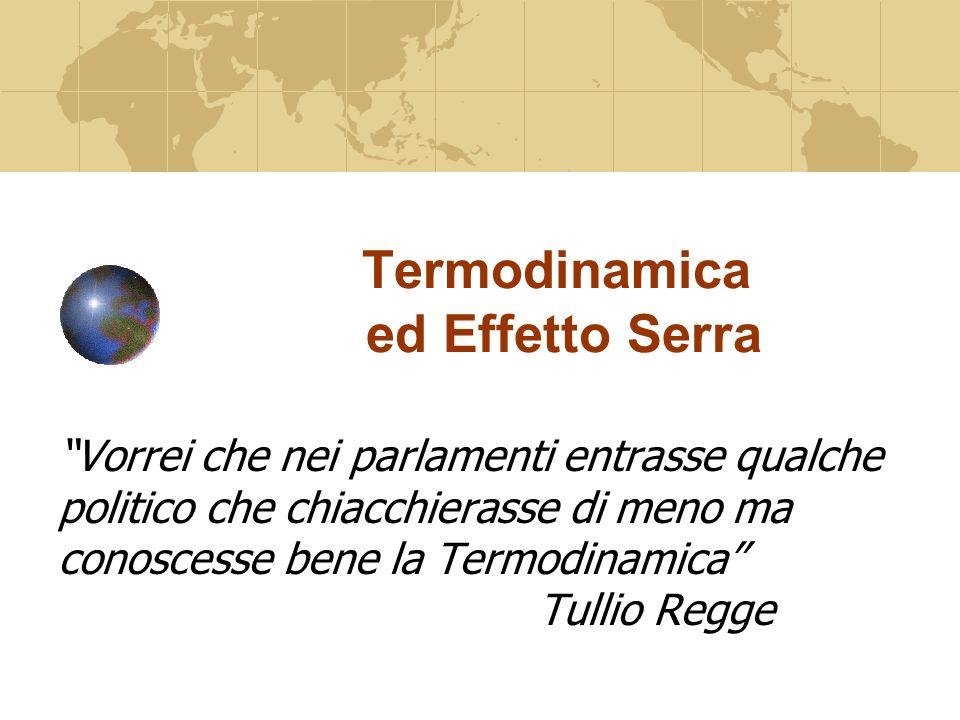 Termodinamica ed Effetto Serra Vorrei che nei parlamenti entrasse qualche politico che chiacchierasse di meno ma conoscesse bene la Termodinamica Tullio Regge