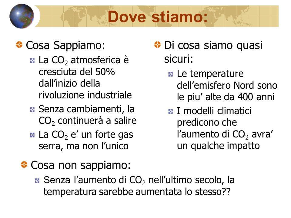 Dove stiamo: Cosa Sappiamo: La CO 2 atmosferica è cresciuta del 50% dallinizio della rivoluzione industriale Senza cambiamenti, la CO 2 continuerà a salire La CO 2 e un forte gas serra, ma non lunico Di cosa siamo quasi sicuri: Le temperature dellemisfero Nord sono le piu alte da 400 anni I modelli climatici predicono che laumento di CO 2 avra un qualche impatto Cosa non sappiamo: Senza laumento di CO 2 nellultimo secolo, la temperatura sarebbe aumentata lo stesso??