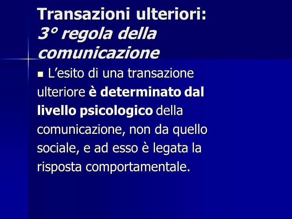 Transazioni ulteriori: 3° regola della comunicazione Lesito di una transazione Lesito di una transazione ulteriore è determinato dal livello psicologi