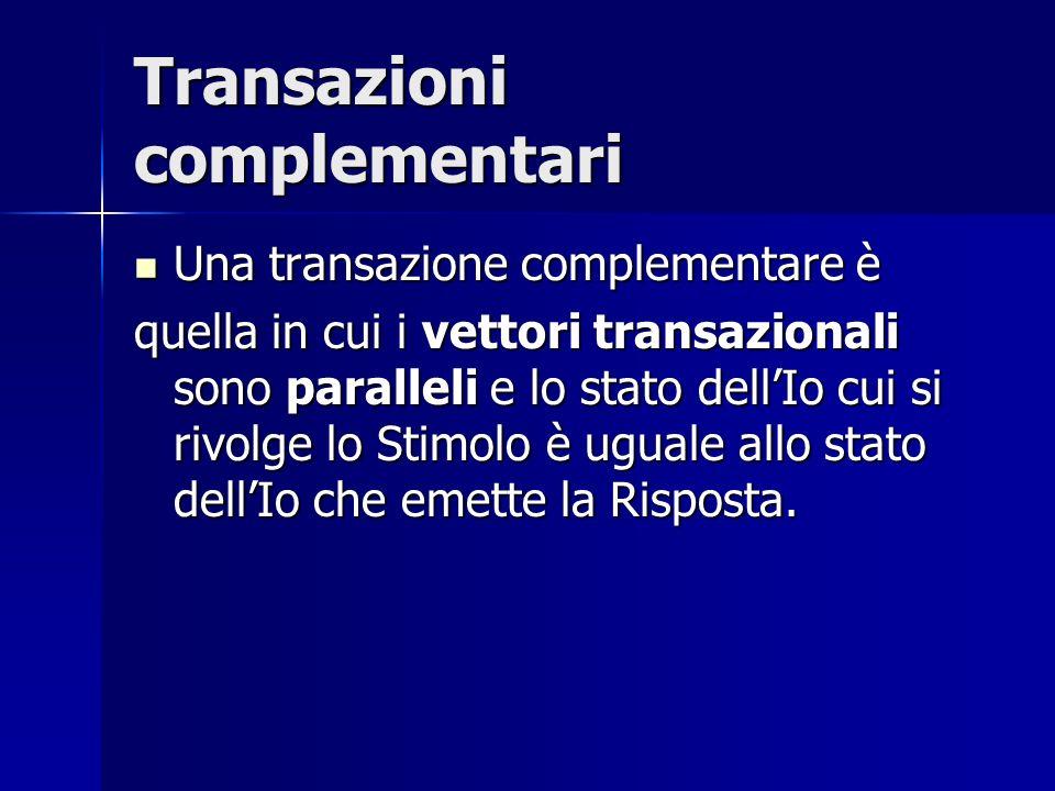 Transazioni complementari Una transazione complementare è Una transazione complementare è quella in cui i vettori transazionali sono paralleli e lo st