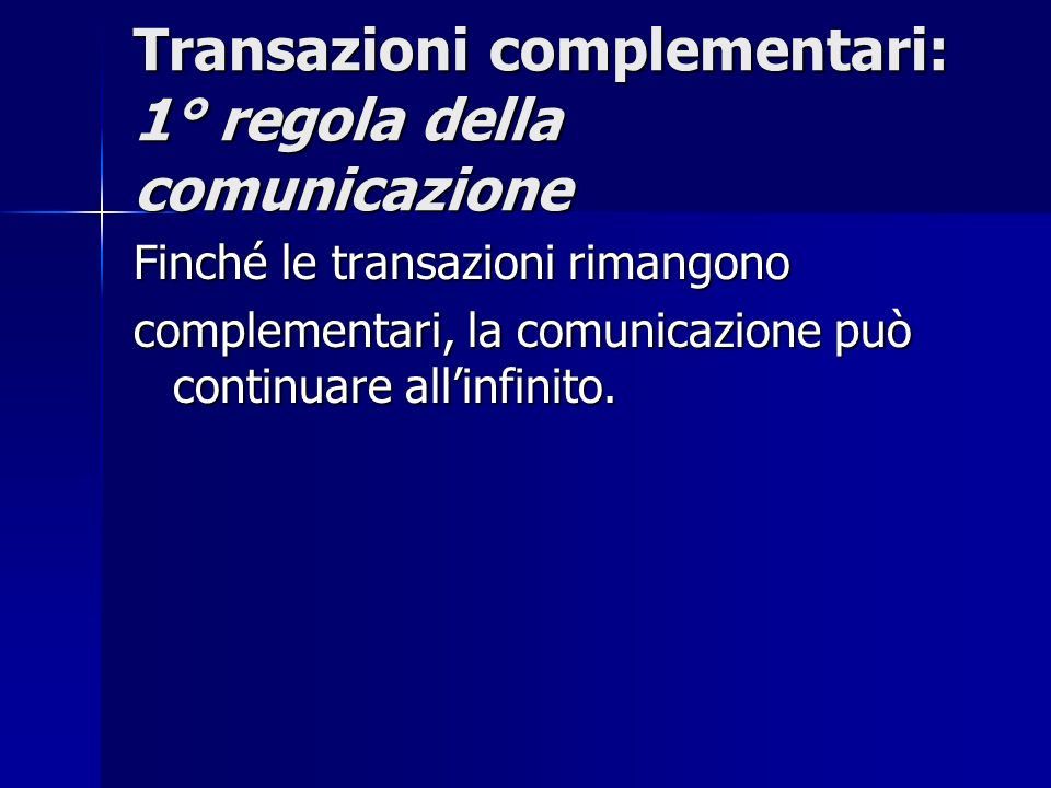 Transazioni incrociate Una transazione incrociata è Una transazione incrociata è quella in cui i vettori transazionali non sono paralleli e lo stato dellIo cui si rivolge lo Stimolo non è uguale allo stato dellIo che emette la Risposta.