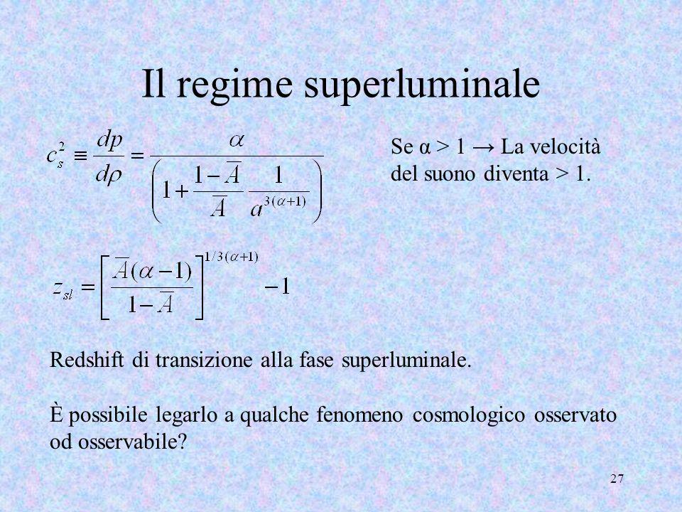 Il regime superluminale 27 Se α > 1 La velocità del suono diventa > 1. Redshift di transizione alla fase superluminale. È possibile legarlo a qualche