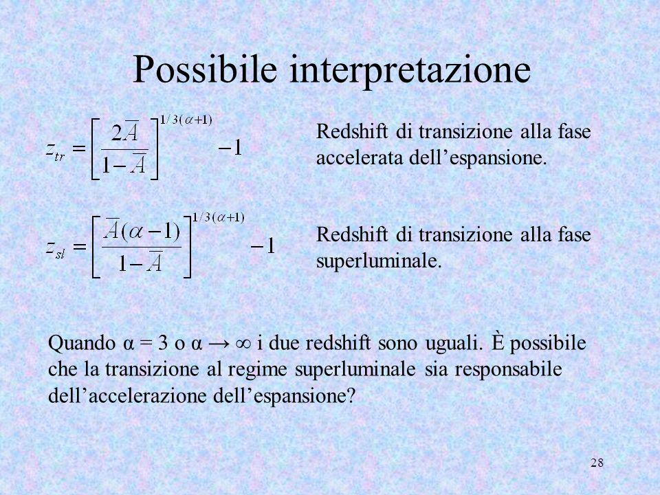 Possibile interpretazione 28 Redshift di transizione alla fase accelerata dellespansione. Quando α = 3 o α i due redshift sono uguali. È possibile che