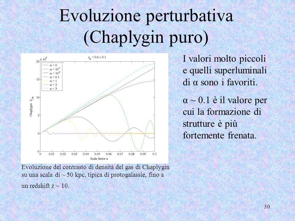 Evoluzione perturbativa (Chaplygin puro) 30 Evoluzione del contrasto di densità del gas di Chaplygin su una scala di ~ 50 kpc, tipica di protogalassie