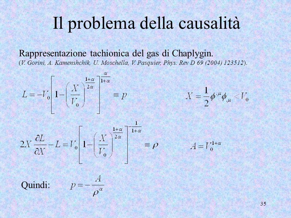 Il problema della causalità 35 Rappresentazione tachionica del gas di Chaplygin. (V. Gorini, A. Kamenshchik, U. Moschella, V. Pasquier, Phys. Rev D 69