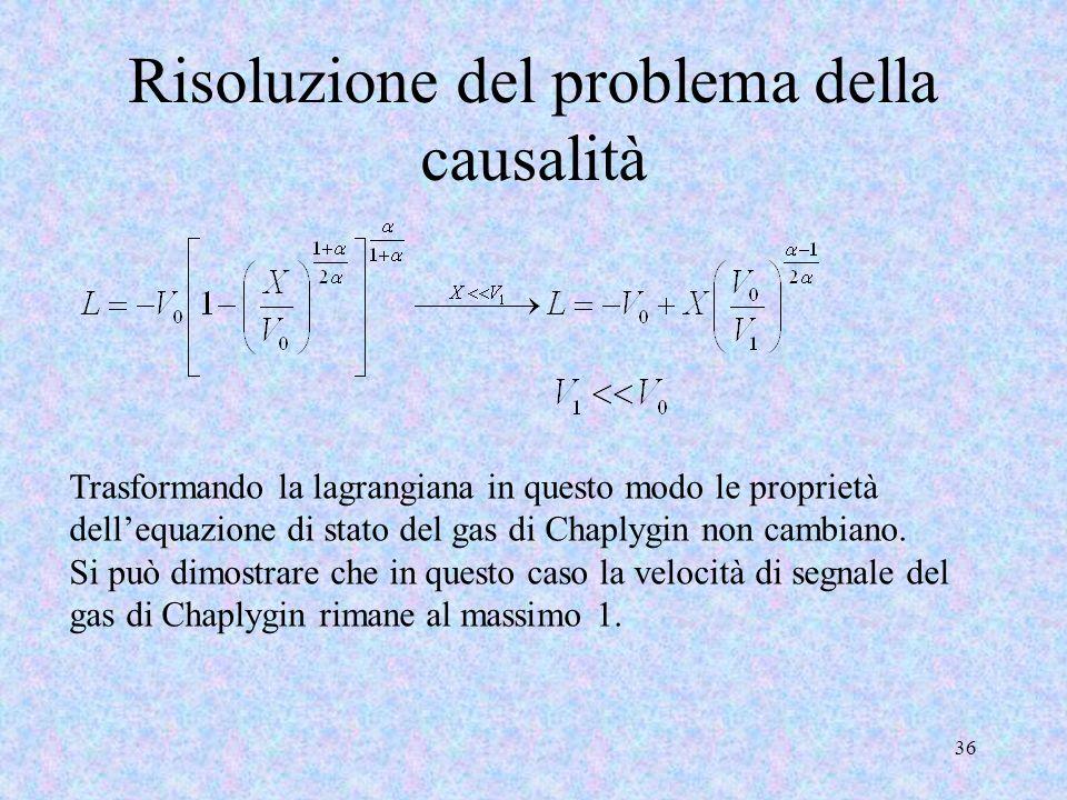 36 Risoluzione del problema della causalità Trasformando la lagrangiana in questo modo le proprietà dellequazione di stato del gas di Chaplygin non ca