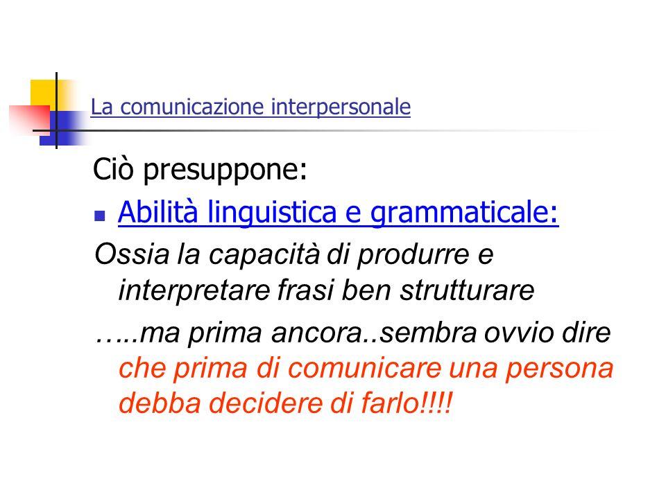 La comunicazione interpersonale Ciò presuppone: Abilità linguistica e grammaticale: Ossia la capacità di produrre e interpretare frasi ben strutturare