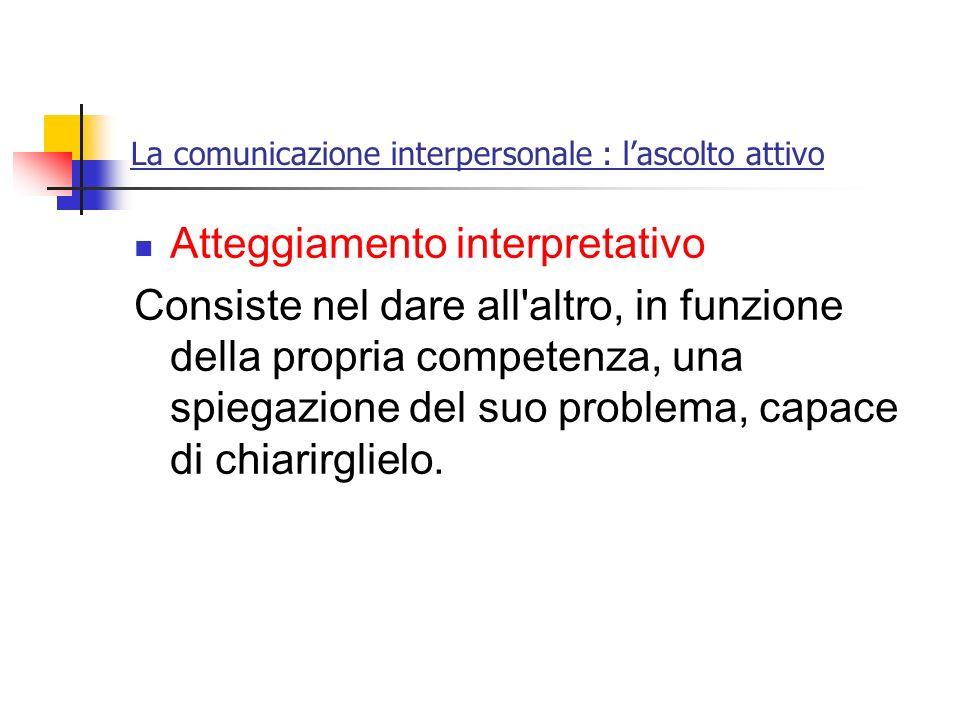 La comunicazione interpersonale : lascolto attivo Atteggiamento interpretativo Consiste nel dare all'altro, in funzione della propria competenza, una