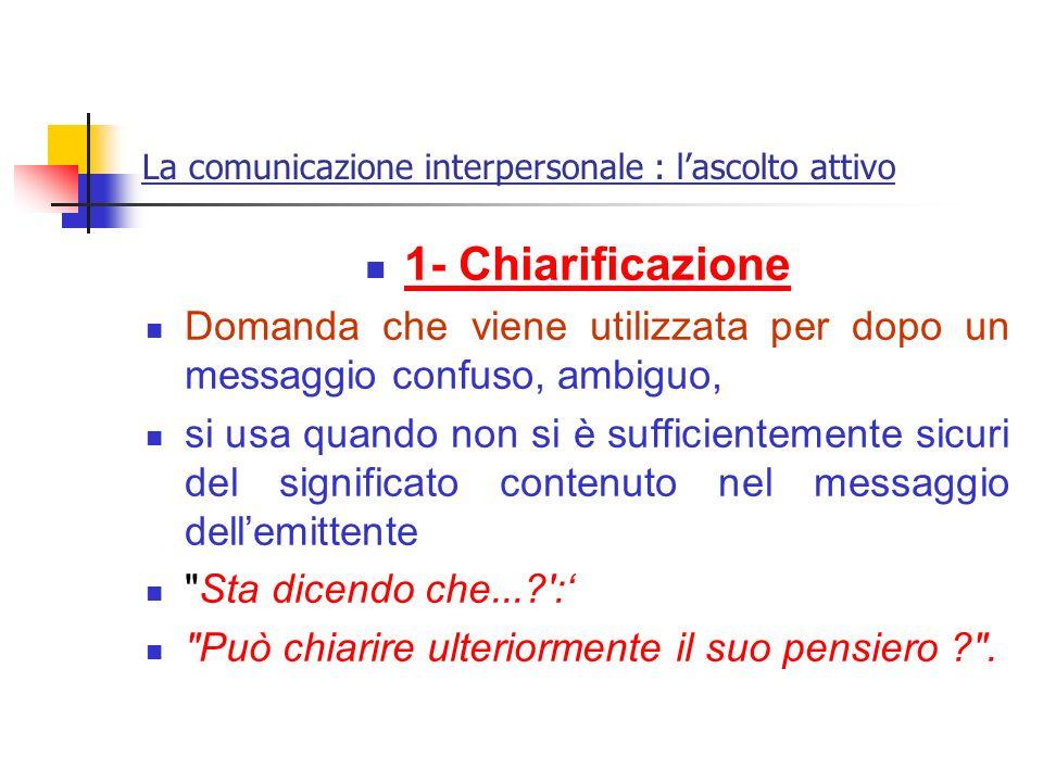 La comunicazione interpersonale : lascolto attivo 1- Chiarificazione Domanda che viene utilizzata per dopo un messaggio confuso, ambiguo, si usa quand
