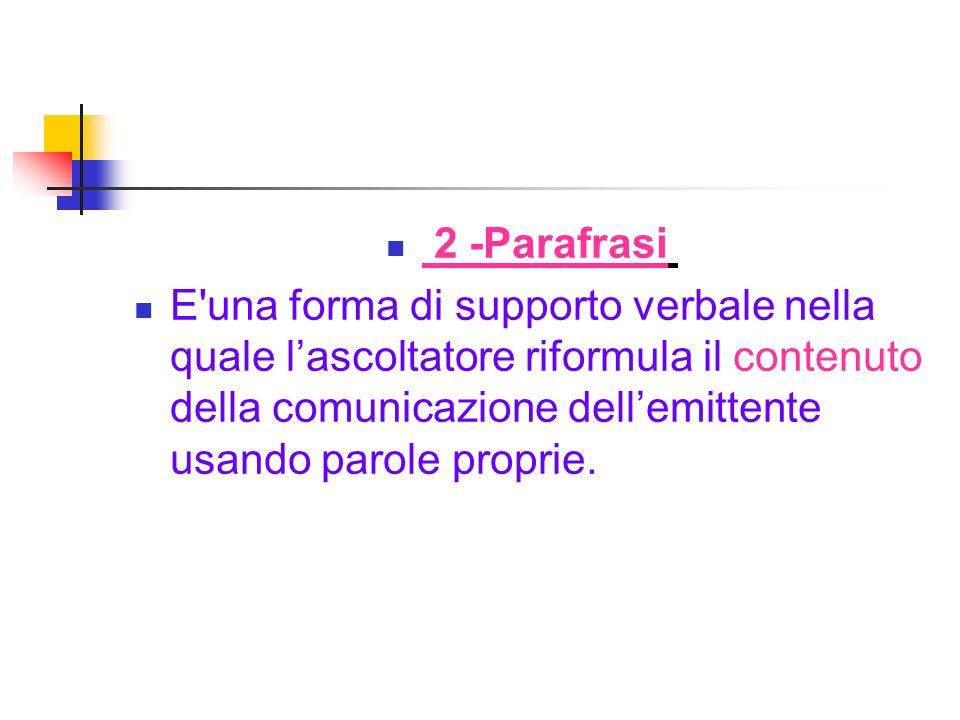 2 -Parafrasi E'una forma di supporto verbale nella quale lascoltatore riformula il contenuto della comunicazione dellemittente usando parole proprie.