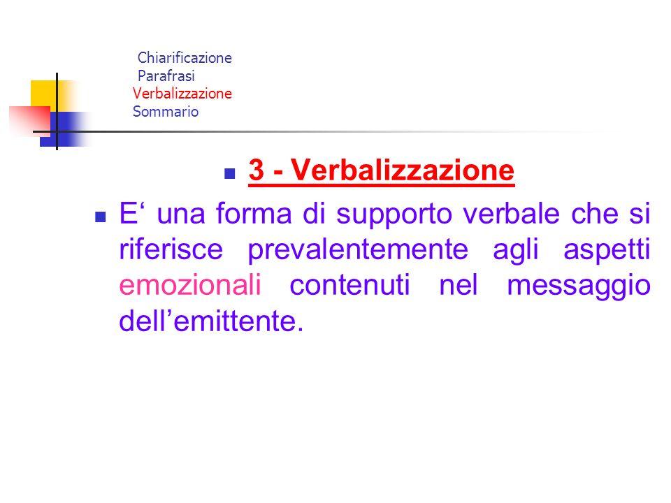 Chiarificazione Parafrasi Verbalizzazione Sommario 3 - Verbalizzazione E una forma di supporto verbale che si riferisce prevalentemente agli aspetti e